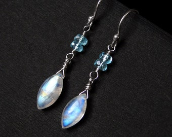 "Rainbow Moonstone Earrings, Apatite, Sterling Silver - ""Bright Blue Sea"" by CircesHouse on Etsy"