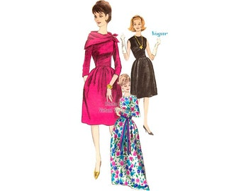 60s Cocktail Dress Pattern Vogue 5750 Short or Long Dress with Bell Skirt, Pockets & Scarf, Sleeve Variations, Bust 34 Uncut