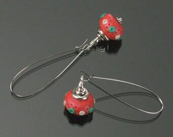 Christmas Earrings, Christmas Jewelry, Polymer Clay Earrings, Holiday Earrings, Long Red Dangle Earring, Festive Earrings, Red Green Earring