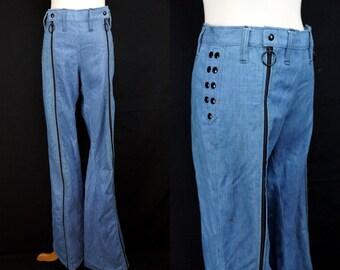1970s Bellbottom Jeans Zip Legs Snap Waist Male Denim Wide Leg Tall Medium Large Hip Huggers Low Rise