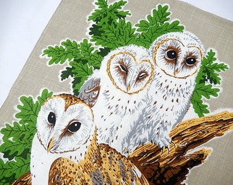 vintage tea towel, owls, Irish linen, never used, kitchen and dining, retro home decor, vintage linens