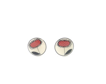 """Red and Black Flower Earrings.  Post or Stud Earrings.  Purple Flower Earrings. SMALL and Lightweight 1/2"""" or 13 mm Round."""
