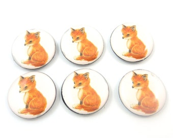 """6 Handmade NO HOLE Fox Flat bead or Cabochon.  3/4"""" or 18 mm Round."""