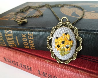 Blackeyed Susan Floral Pendant | hand embroidered necklace, yellow, wildflower, black eyed susan, flowers, feminine, embroidery, jewelry