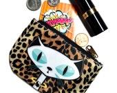 White Mod Kitty leopard print coin purse