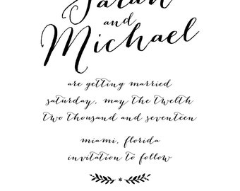 Modern Elegance Save the Date Stamp