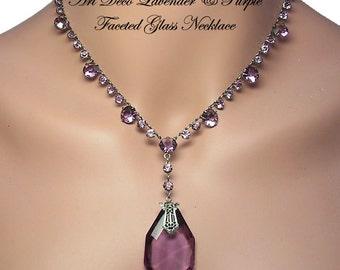Amethyst Art Deco Necklace, Purple Glass Sterling Necklace, Art Deco Jewelry, Wedding Jewelry