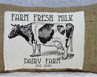 Burlap Pillow Farm Fresh Cow Graphic Decorator Lumbar Pillow Rustic Farmhouse Decor Envelope Style with or without insert