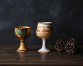 Pair Ceramic Wine Cups Bohemian Decor Stemed Cups Hand Made Vintage 60s and 70s From Nowvintage on Etsy