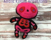 Custom Plush Valentine's Day Skeleton / Red and Pink / Stuffed Animal / Ready to Ship