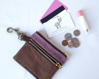 Slim Zip Wallet Womens. Zippered Coin Pouch. Waxed Canvas Wallet. Minimalist Wallet. Cute Double Zip Wallet. Woman Coin Wallet.