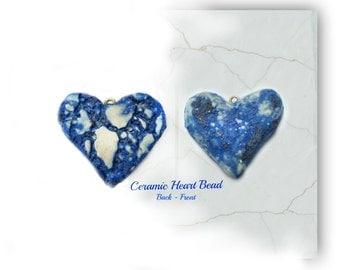 heart bead,blue heart , Heart bead for necklaces, necklace bead supply,clay heart bead,   # 124