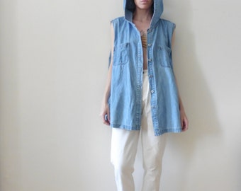 Hooded Lightweight Denim Vest