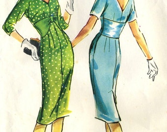 Vintage 50s McCalls 4803 Misses UNCUT Sheath Cocktail Dress with Fitted Midriff Sewing Pattern Size 14 Bust 34