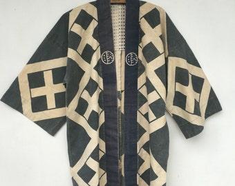 Vintage Japanese Indigo Blue Kimono Robe Duster Coat