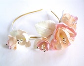 English garden flower headband ivory peach pink off white gold