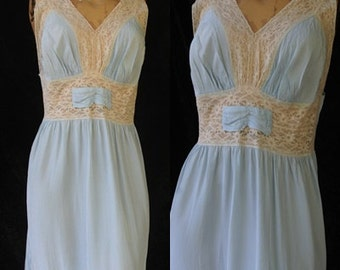 Vintage Superior Superfit Rayon 40s 1940s World War II Nightgown Lace Wedding Bias Cut 36