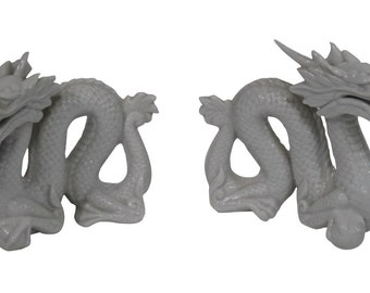 Vintage Pair of Blanc De Chine Dragons