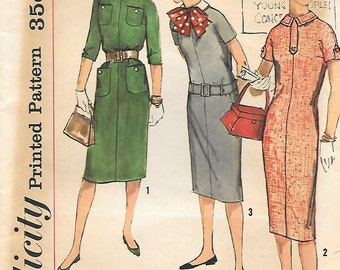 "Simplicity 2610 1950s ""Simple to Make"" Sack Dress Vintage Sewing Pattern Bust 29 or 33 Detachable Collar"