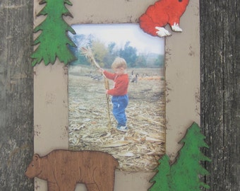 WOODLAND FOREST Kids Wood Picture Frame - Original Hand Painted