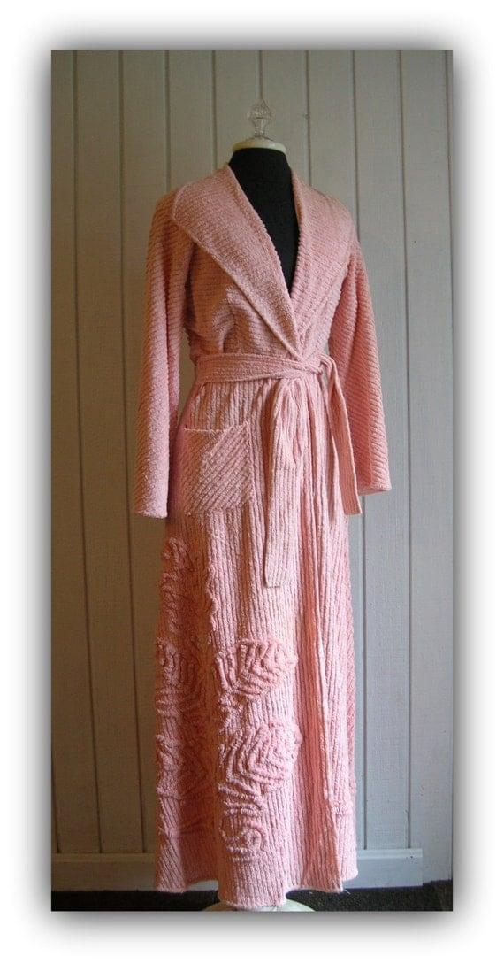 Vintage Pink Chenille Plush Floor Length Robe