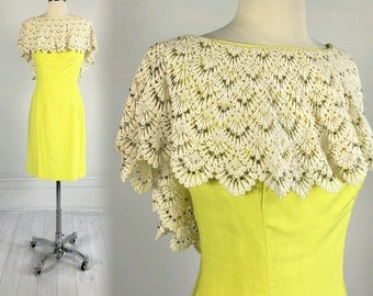 Vintage 60s Mr. Blackwell Sunshine Yellow Lace and Rhinestone Mod Dress sheath designer S 1960s Rare!