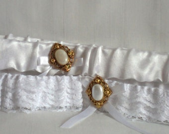 Gold & White Lace Wedding Garter Set, Antique look, Gold and pearly button, includes keepsake and toss garters