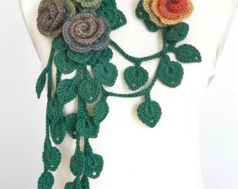 FIVE - Summer - Orange - Crochet Rose and Leaf Lariat/Scarf