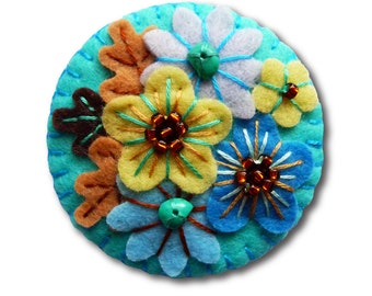 FB133 -  Japanese Art Inspired Handmade Mini Felt Brooch - Turquoise - Made to order