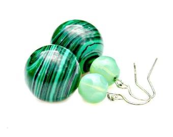 Green Earrings Malachite Earrings Emerald Green Earrings Irish Green Earrings Glass Bead Earrings Dangle Earrings Modern Boho Chic Mei Faith