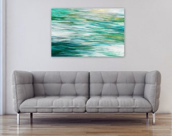 Large Abstract Painting, Beach Decor, Original acrylic on 24x36 canvas, Modern Wall Art, teal green white gold, Jessica Torrant