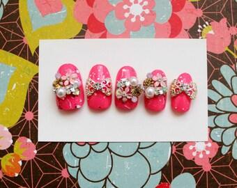 Floral Fling Press On Nails, Japanese Nail Art, 3D Fake Nails, Pink Floral Nails, 3d Japanese Style, Kawaii, Bling Nails, Cosplay, Nail