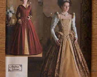 2007 simplicity pattern 3782 misses Elizabethan dress costume sz 6-8-10-12 uncut