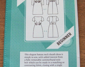 Colette sewing pattern 1017 Peony misses dress bateau neck sheath dress sz 0-18 uncut