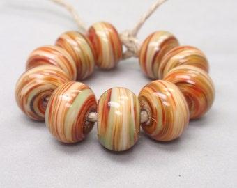 Bigger Falling Leaves Swirls  - 10 Handmade Lampwork Beads SW 193