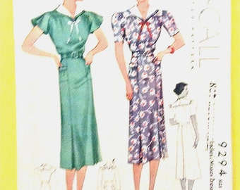 1930s McCall's 9294 Misses' One-Piece Dress Vintage Sewing Pattern Bust 34 Hip 37