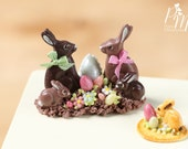 MTO-Chocolate Easter Rabbit Family Display (A) - Miniature Food in 12th Scale for Dollhouse