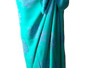 Aqua Short Sarong Womens Clothing Beach Sarong Pareo Wrap Skirt Swimsuit Coverup Aqua Green and Lavender Thai Flower Batik Sarong