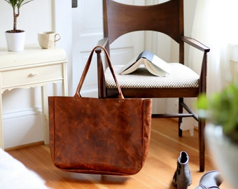 Over Sized Distressed Leather Portfolio Tote
