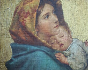 Beautiful Madonna and Child Wall Hanging...Purchased in Europe
