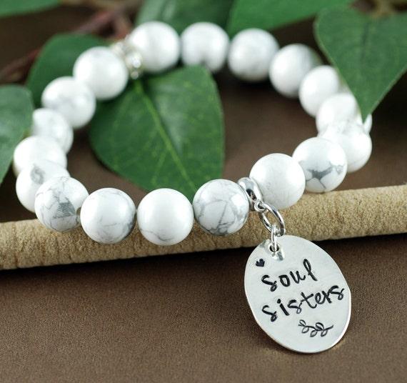 Soul Sisters Beaded Bracelet, Stretch Bracelet, Sisters Bracelet, White Howlite, Soul Sister Gift, Gift for Sister, Gift for Friend