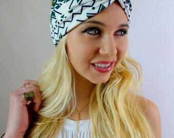 Turban Headband Hunter Green Black Cream Aztec Arrow Headband Turband Twist HeadBand Bohemian Womens Hair Accessories