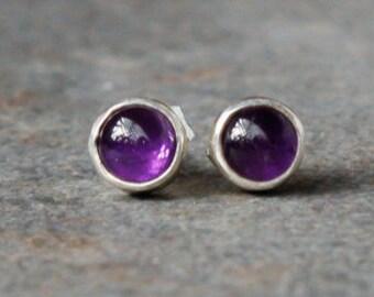 Earrings, Amethyst Earrings, Silver Amethyst Earrings, Post Earrings, Silver Earrings, February Birthstone