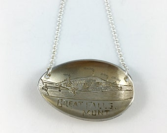 Great Falls Montana, Great Falls Necklace, Great Falls Souvenir, Montana Jewelry, Montana Gift, Montana Woman, Vintage Montana, Wife Gift