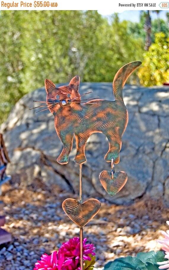Sale cat garden stake outdoor metal garden by for Cat yard art