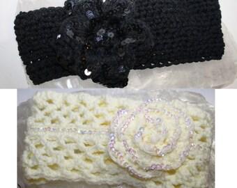 White or black Sequin, earwarmer, 3D sequin flower Headband,adjustable, ear warmer, hippie boho,teen to adults READY to SHIP