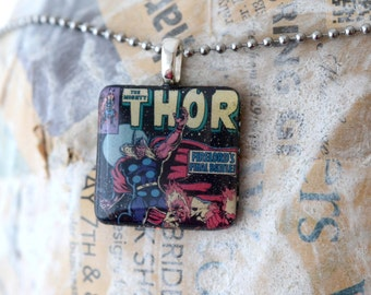 Thor Recycled Comic Book Resin Pendant, The Mighty Thor Superhero Jewelry Necklace