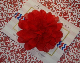 July 4th Flower Headband, Fourth of July Baby Headband, Patriotic Baby Bow Red Headband, Infant Headband, Toddler Headband, Newborn Headband