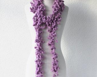 Lavender Cute Pom Pom Long Mulberry Scarf Christmas Gift Valentine's day