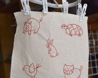5 Cute animal motifs (Series A) embroidery template | PDF embroidery pattern | hand embroidery template